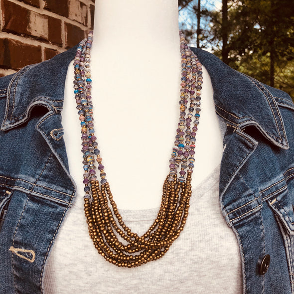 Unique Signature Handmade Beaded Multi Strand Necklace with Knot (Multi Color)