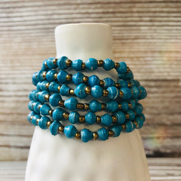 Kyendi Stackable Beaded Stretch Bracelets (Turquoise)