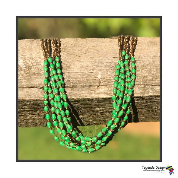 Mukwano Handmade Beaded Multistrand Necklace (Green, 6 Strands)
