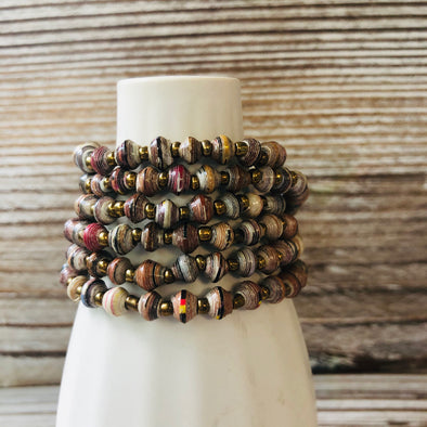 Kyendi Stackable Beaded Stretch Bracelets (Earth tones)