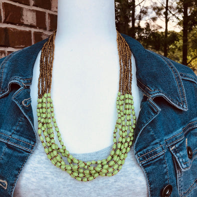 Musana Handmade Multi Strand Beaded Necklace (Bright Green with Gold Seed Beads, 7 Strands)