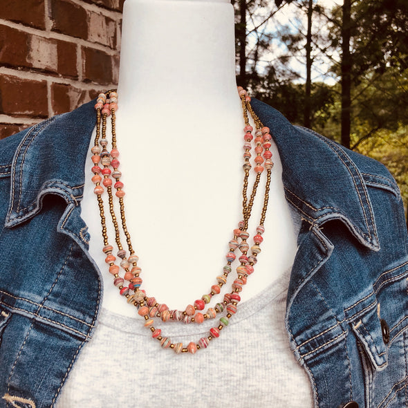 Namuwongo 2 Handmade Beaded Multi Strand Necklace in a Blend of Pink and Coral Colors