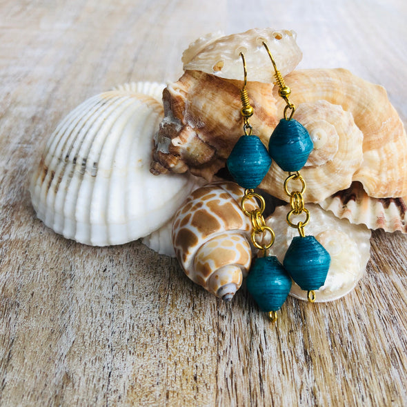 Dangling Handmade Beaded Earrings (2 Bicone Shaped Beads in Teal)
