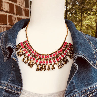 Musanyufu 3 Handmade Intricate Beaded Bib Necklace (Red and Coral Colors)