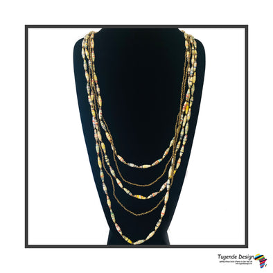 Nnyabo Boho Chic Handmade Beaded Multi Strand Long Necklace (Available in 3 Color Combinations)