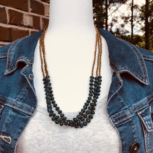 Namuwongo Handmade Beaded Multi Strand Necklace in a Dark Teal Color