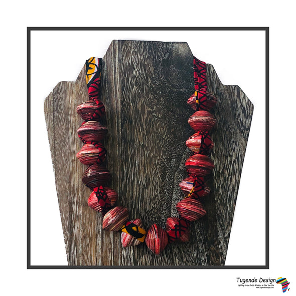 Sanyu Funky Handmade Necklace with Chunky Beads and Ankara Fabric (Large Beads in Red, Green or Orange)