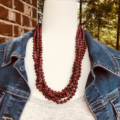 Maggie Cranberry Colored Handmade Beaded Multi Strand Necklace Set with Hoop Earrings