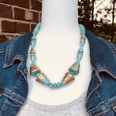Arua Handmade Chunky Bling Beaded Necklace in Turquoise and Gold