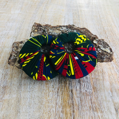 Large Round Ankara Earrings (Multicolor - Yellow/Green/Navy/Dark Red)