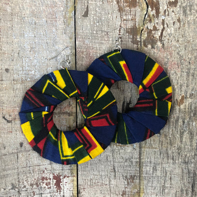 Large Round Ankara Kitangala Earrings (Multicolor - Navy, Yellow & Red)