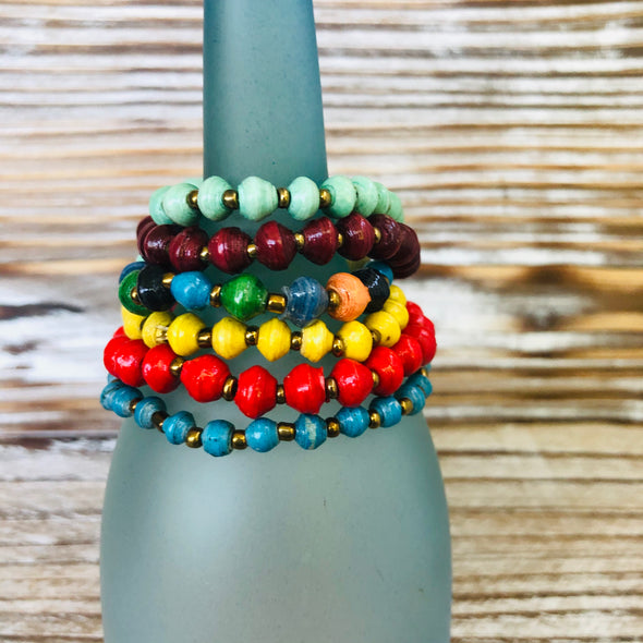 Kyendi Stackable Beaded Stretch Bracelets  (Set of 6 - Bright Colors)