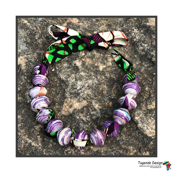 Sanyu Necklace (Purple with African fabric)