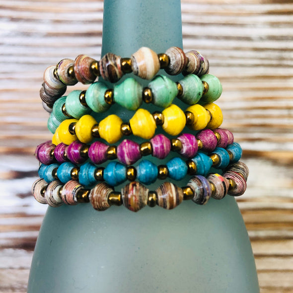 Kyendi Stackable Beaded Stretch Bracelets  (Set of 6 - Fashion Colors)