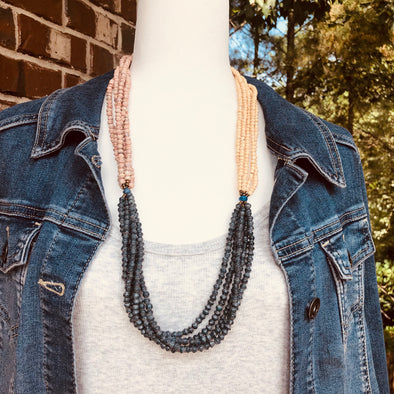 Unique Signature Handmade Beaded Multi Strand Tri-Colored Necklace (Cream, Pink, Navy)