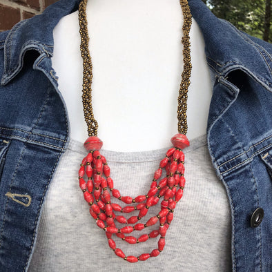 Sophie Handmade Intricately Braided Necklace (4 Colors with Gold Seed Beads)