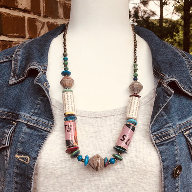 Kirabo 1 Chunky Handmade Rustic Beaded Single Strand Boho Necklace