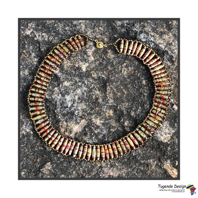 Kirungi Necklace (gold & red)