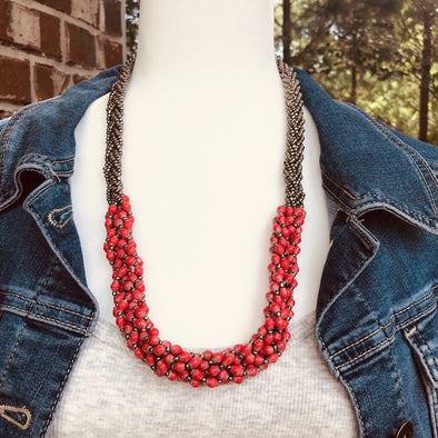 Abambejja Elegant Handmade Intricately Beaded Signature Necklace (Red with Silver Seed Beads)