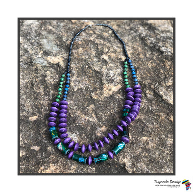 Kakobe Handmade Beaded Necklace in Funky Color Combinations (Purple)