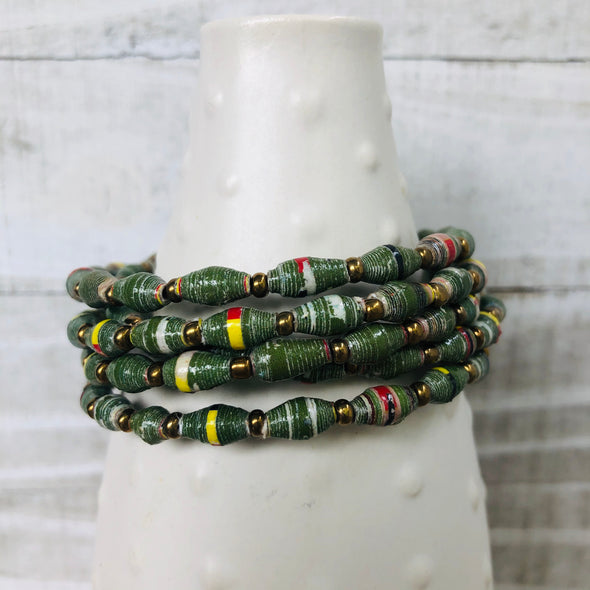 Colorful Cuff Beaded Memory Wire Bracelet (Moss Green)