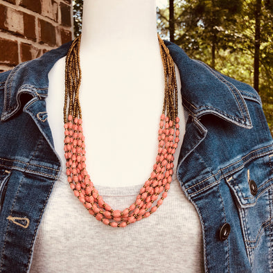 Musana Handmade Multi Strand Beaded Necklace (Coral with Gold Seed Beads, 7 Strands)