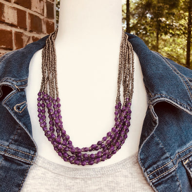 Musana Handmade Multi Strand Beaded Necklace (Mauve Purple with Silver Seed Beads, 7 Strands)