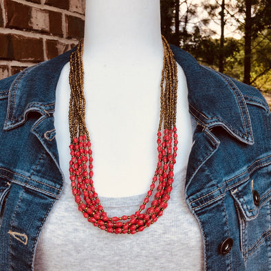 Musana Handmade Multi Strand Beaded Necklace (Bright Red with Gold Seed Beads, 7 Strands)