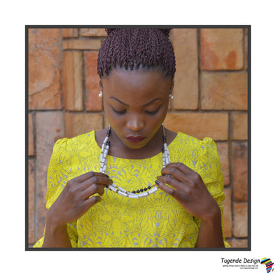 Otegeera Handmade Beaded Multistrand Necklace Set (Available in White with Red or Black Accent Beads)