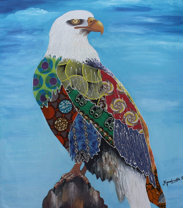Painting of Stunning Eagle: Mixed Media (African Print Fabric & Acrylic on Canvas- Blue Background)