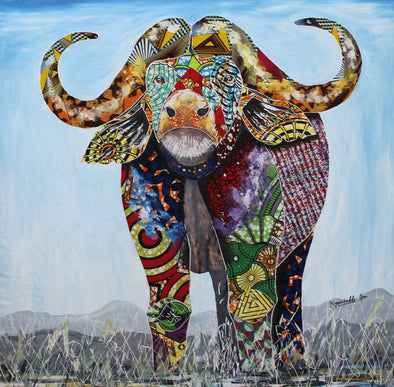 Painting of Dynamic Buffalo: Mixed Media (African Print Fabric & Acrylic on Canvas- Blue Background)