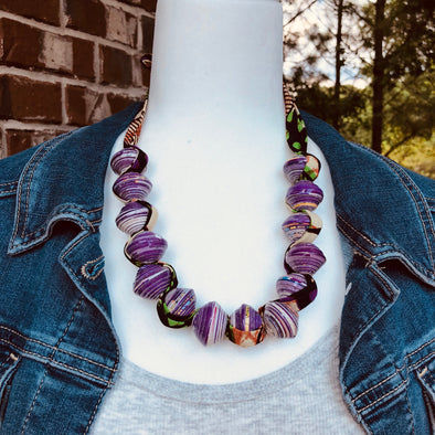 Sanyu Funky Handmade Necklace with Chunky Beads and Ankara Fabric (Large Beads in Purple)