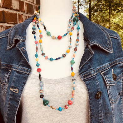 Fiesta 1 Handmade Beaded Long Necklace (Multicolor with Light Blue Seed Beads)