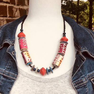 Kirabo 5 Chunky Handmade Rustic Beaded Single Strand Boho Necklace