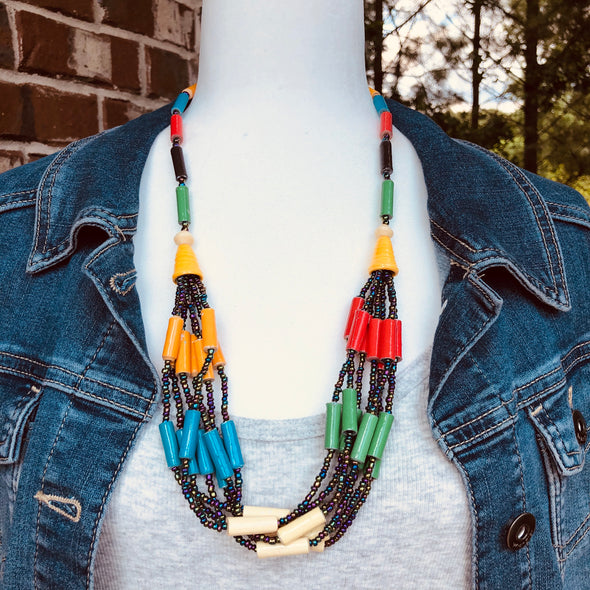 Kyenvu Handmade Beaded Offset Multi Strand Necklace in a Bold Multi Color Combination
