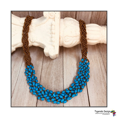 Abambejja Elegant Handmade Intricately Beaded Signature Necklace (Bright Blue with Gold Seed Beads)