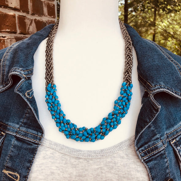 Abambejja Elegant Handmade Intricately Beaded Signature Necklace (Blue with Silver Seed Beads)