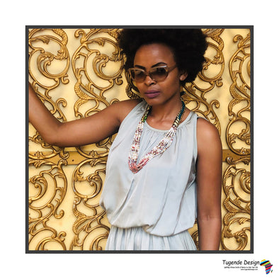 Okusiba Necklace (African fabric & available in 3 colors)
