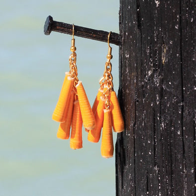 Dangling Handmade Beaded Earrings (6 Medium Cone Beads in Yellow)