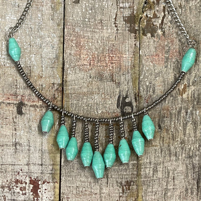 Banda Darling Handmade Monochromatic Beaded Bib Design with Silver Chain (Mint Green)