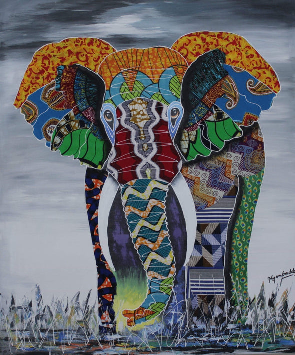 Painting of the Majestic Elephant: Mixed Media (African Print Fabric & Acrylic on Canvas- Gray Background)