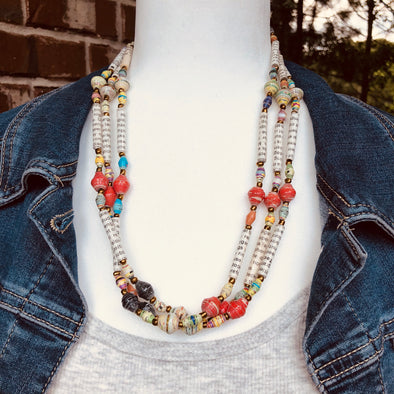 Afiya 1 Handmade Beaded Multi Strand Necklace (Beads with Words & Green or Red Accent Beads)