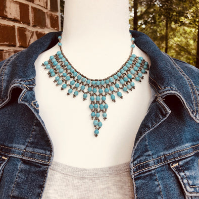 Akaama 2 Handmade Intricate Beaded Bib Necklace (Turquoise)