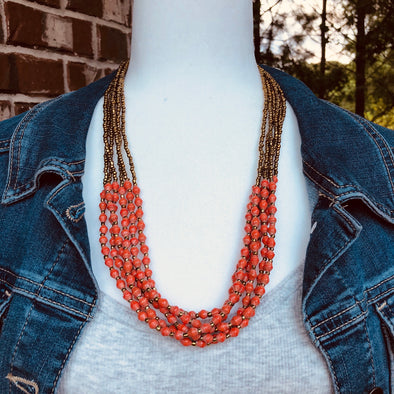 Musana Handmade Multi Strand Beaded Necklace (Rustic Red with Gold Seed Beads, 6 Strands)