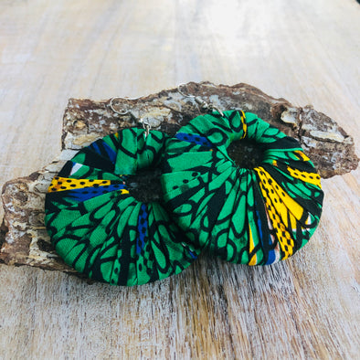 Large Round Ankara Earrings (Multicolor - Green/Yellow/Black/Blue)