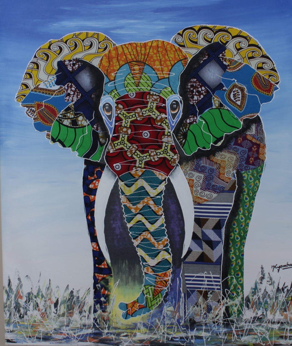 Painting of the Majestic Elephant: Mixed Media (African Print Fabric & Acrylic on Canvas- Blue Background)