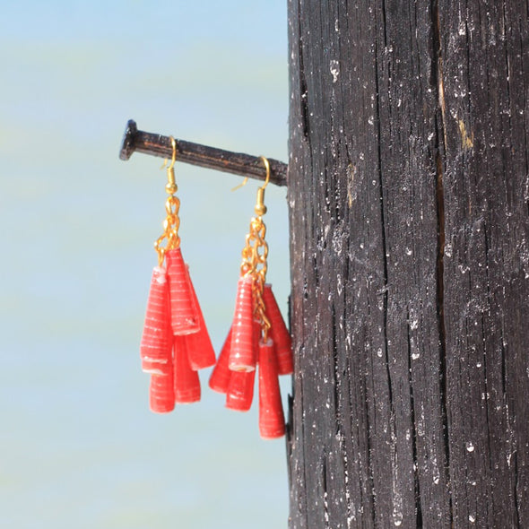 Dangling Handmade Beaded Earrings (6 Medium Cone Beads in Red)