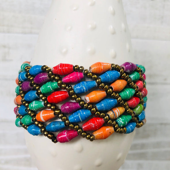 Large Colorful Cuff Beaded Stretch Bracelet (Bright Multicolor)