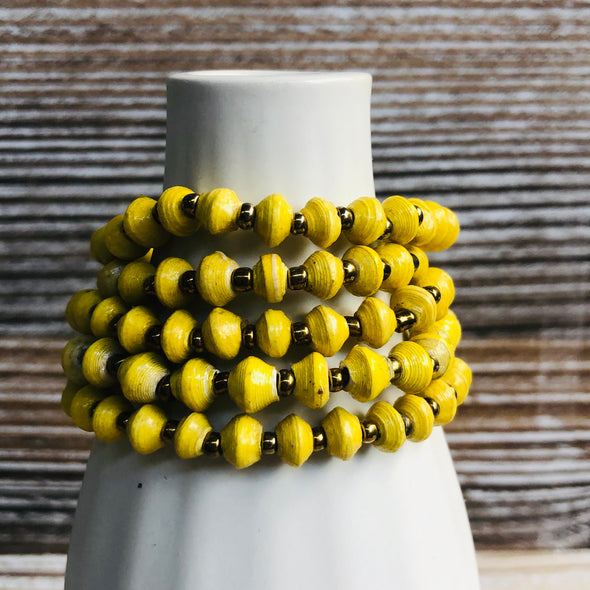 Kyendi Stackable Beaded Stretch Bracelets (Yellow)