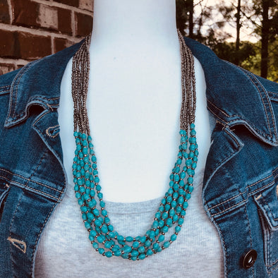 Musana Handmade Multi Strand Beaded Necklace (Seafoam Blue with Silver Seed Beads, 6 Strands)